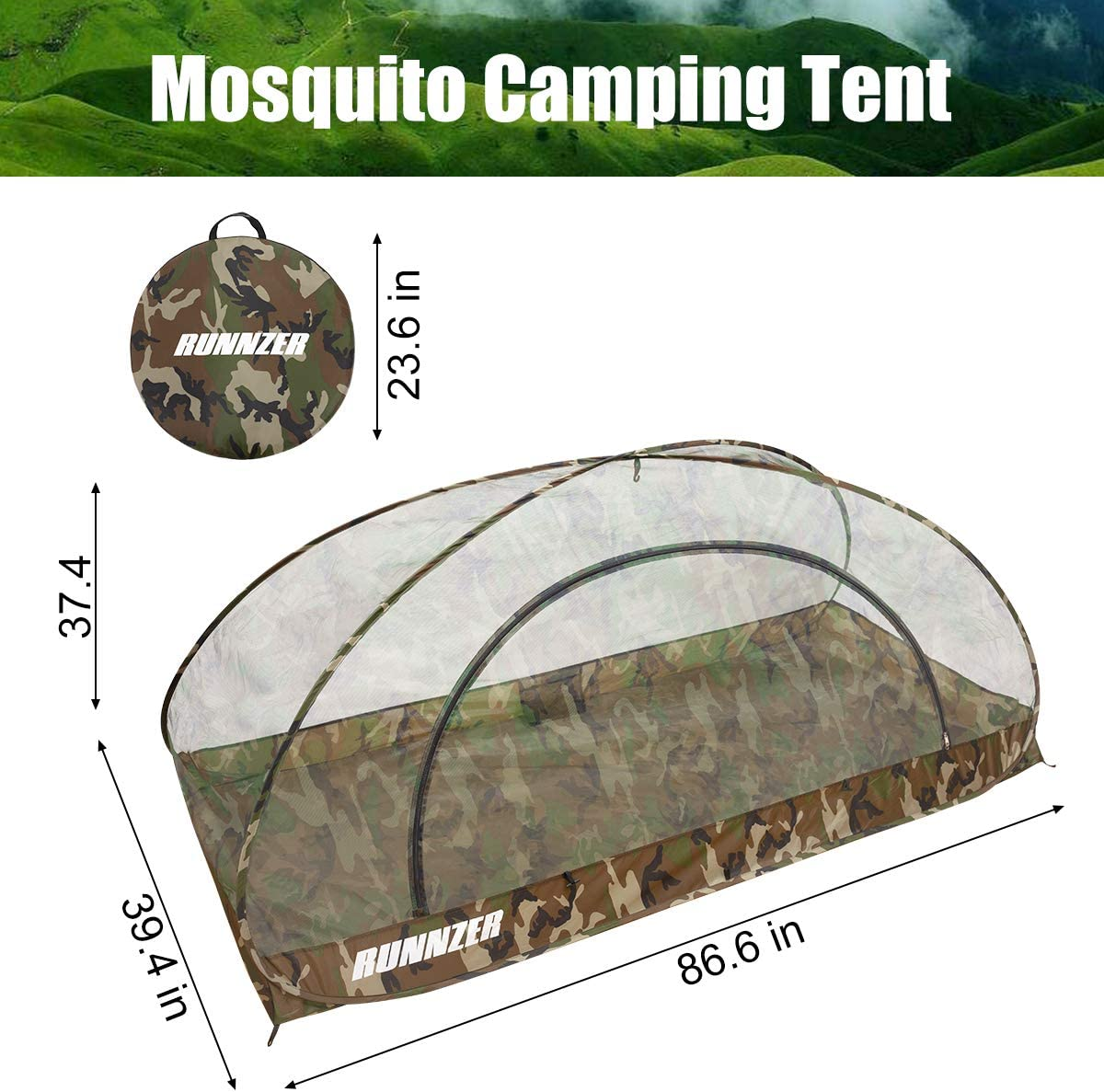 RUNNZER Mosquito Tent for Camping Outdoor Travling Camping for Backyard, Self Standing Auto- Expanding