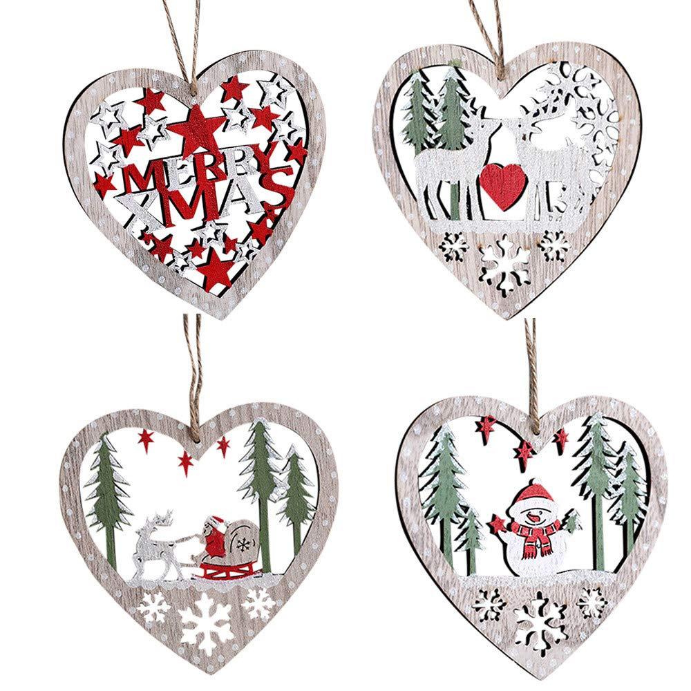 Morrivoe Christmas Wood Hanging Ornament Rustic Heart Shaped Hanging Ornament Christmas Party Kindergarten Decoration MONFRI01