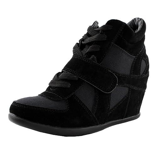 b5a4a1c61c12a Top Moda Sammy-40 High Top Womens Hidden Wedge Sneaker Shoes