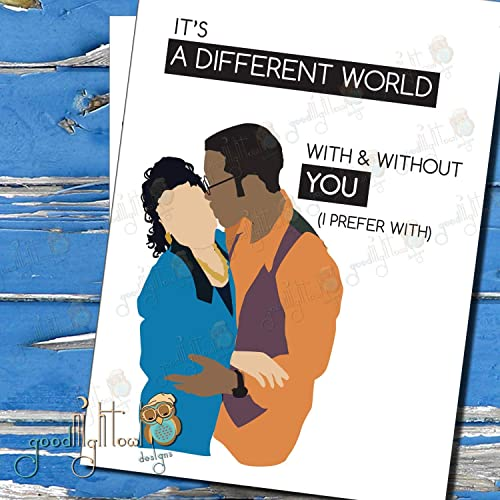 Love you Card Anniversary Card For Her,Card for husband Card for wife Its A Different World With and Without You Valentines Card