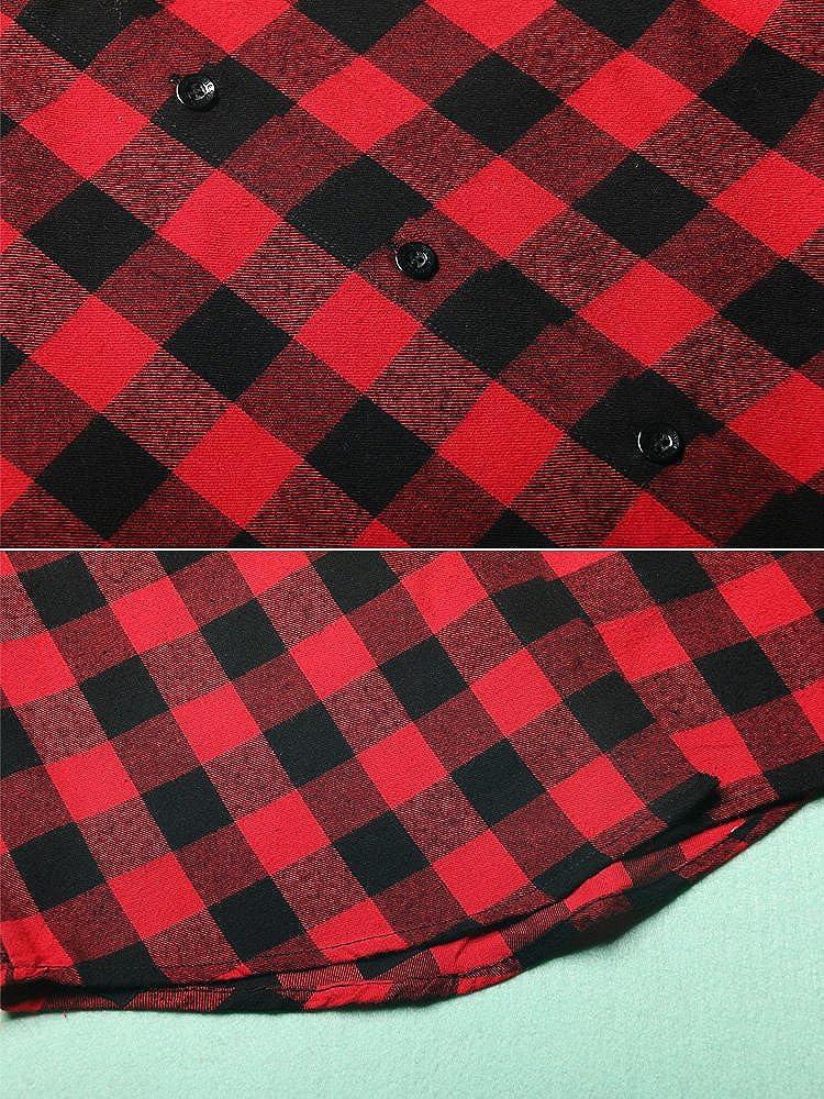 OCHENTA Womens Long Sleeve Button Down Plaid Flannel Shirt