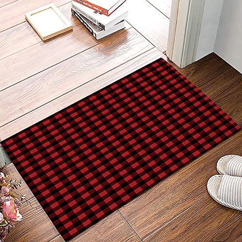Geometric Doormats for Entrance Way Indoor Front Door Welcome Rugs Classic Red and Black Check Plaid Geometric Lattice Printed Non-slip Bath Mat Kitchen Mat Floor Carpet for Bedroom Office 18x30inch