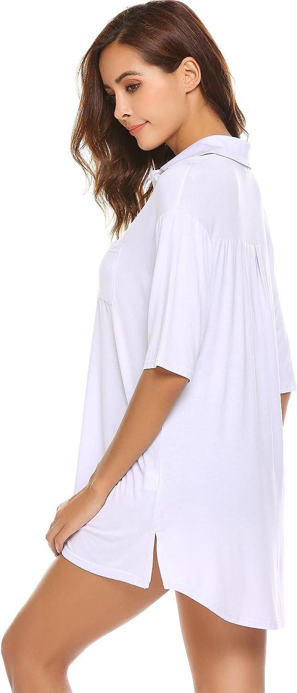 Acecor Women Turn-Down Collar Long Sleeve Asymmetrical Hem Sleepwear Shirt Dresss-XL