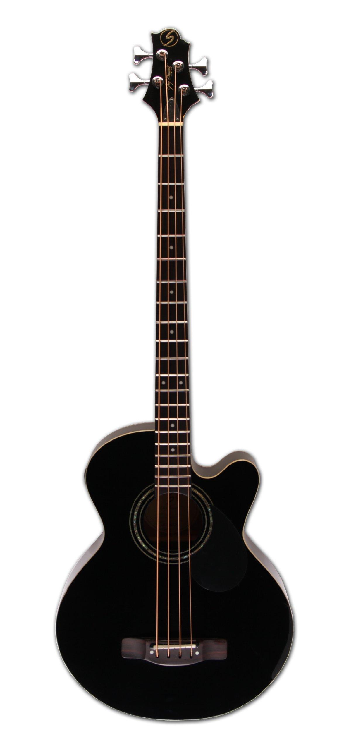 Greg Bennett Design Regency AB2 BLK 4-String Acoustic-Electric Bass Guitar, Black