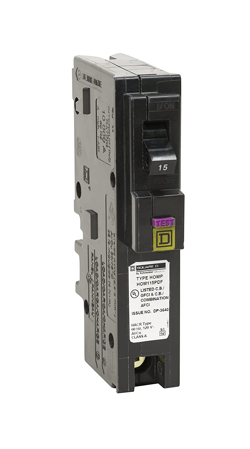 Square D By Schneider Electric Hom115pdfc Homeline Plug On Neutral Dual Fuse Box 15 Amp Single Pole Function Cafci And Gfci Circuit Breaker