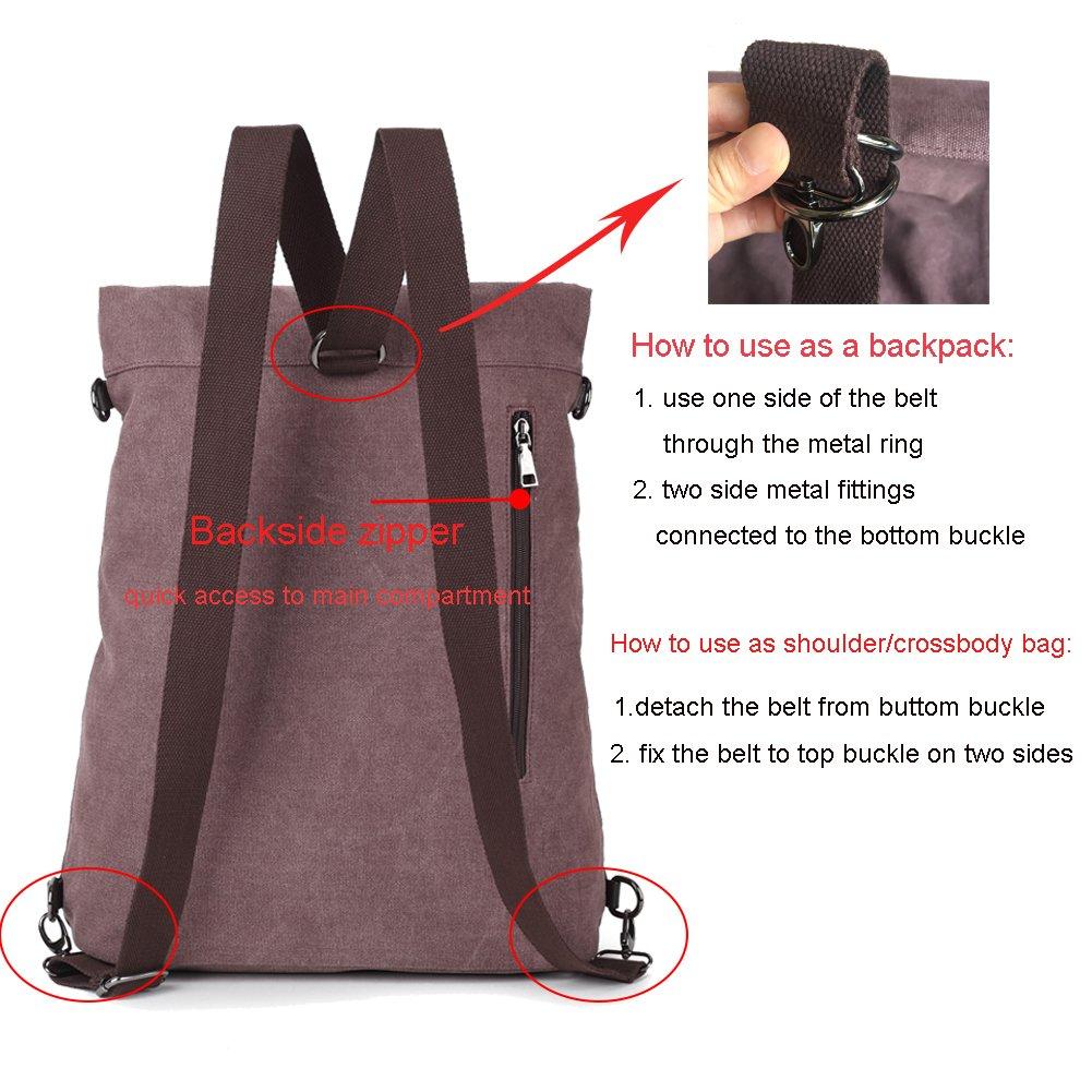 5ff79b93b924c Kebos Canvas Tasche Rucksack aus Segeltuch Tasche Schultertasche Große  Umhängetasche Crossbody