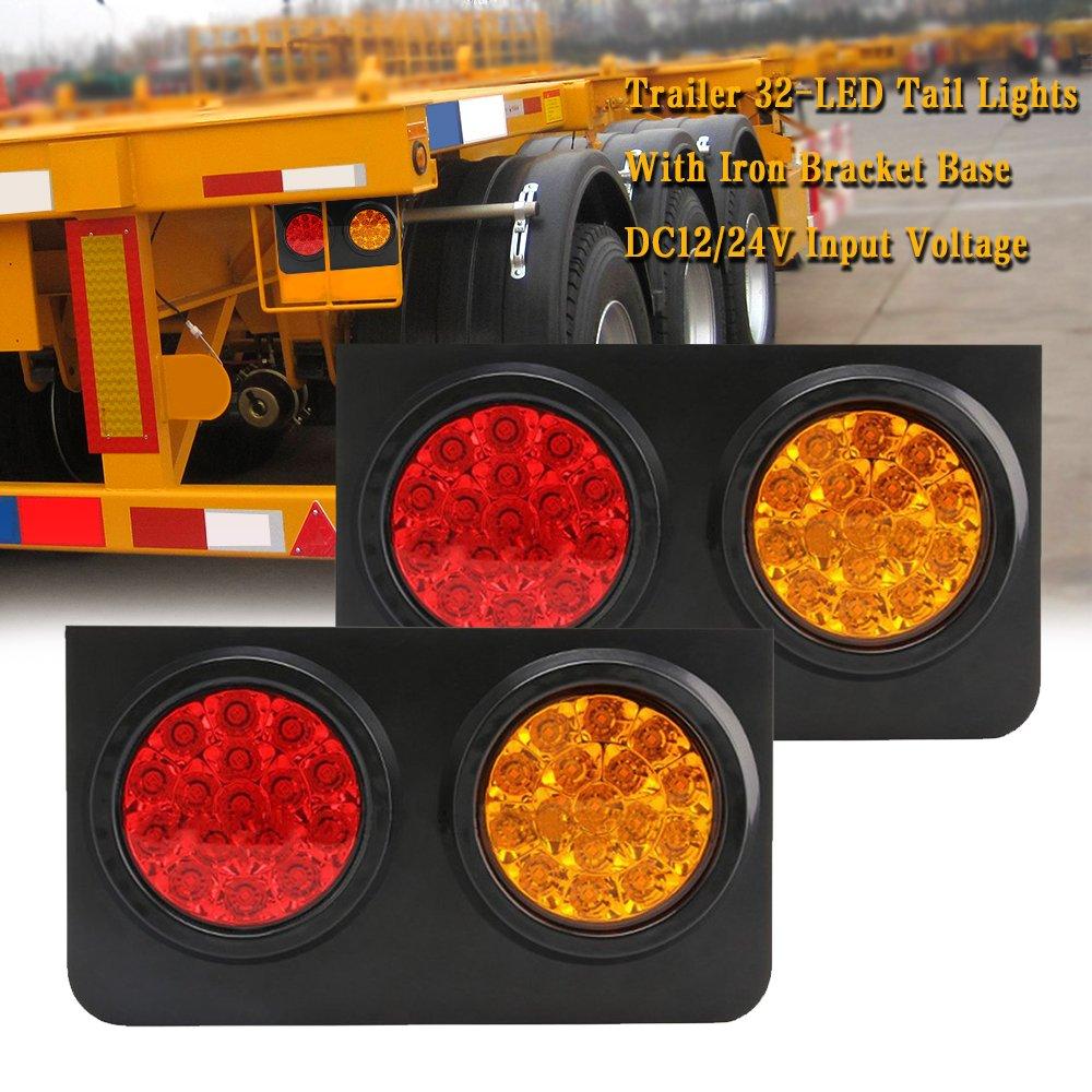 TOPPOWER 32LED Truck/Trailer Tail Lights with Iron Bracket Base DC12/24V Red&Amber Waterproof Tail Stop/Turn/Brake/Tail Lights/Lamps fits Truck/Trailer/Excavator/RV/UTV/Harvester etc.(2 Pcs)