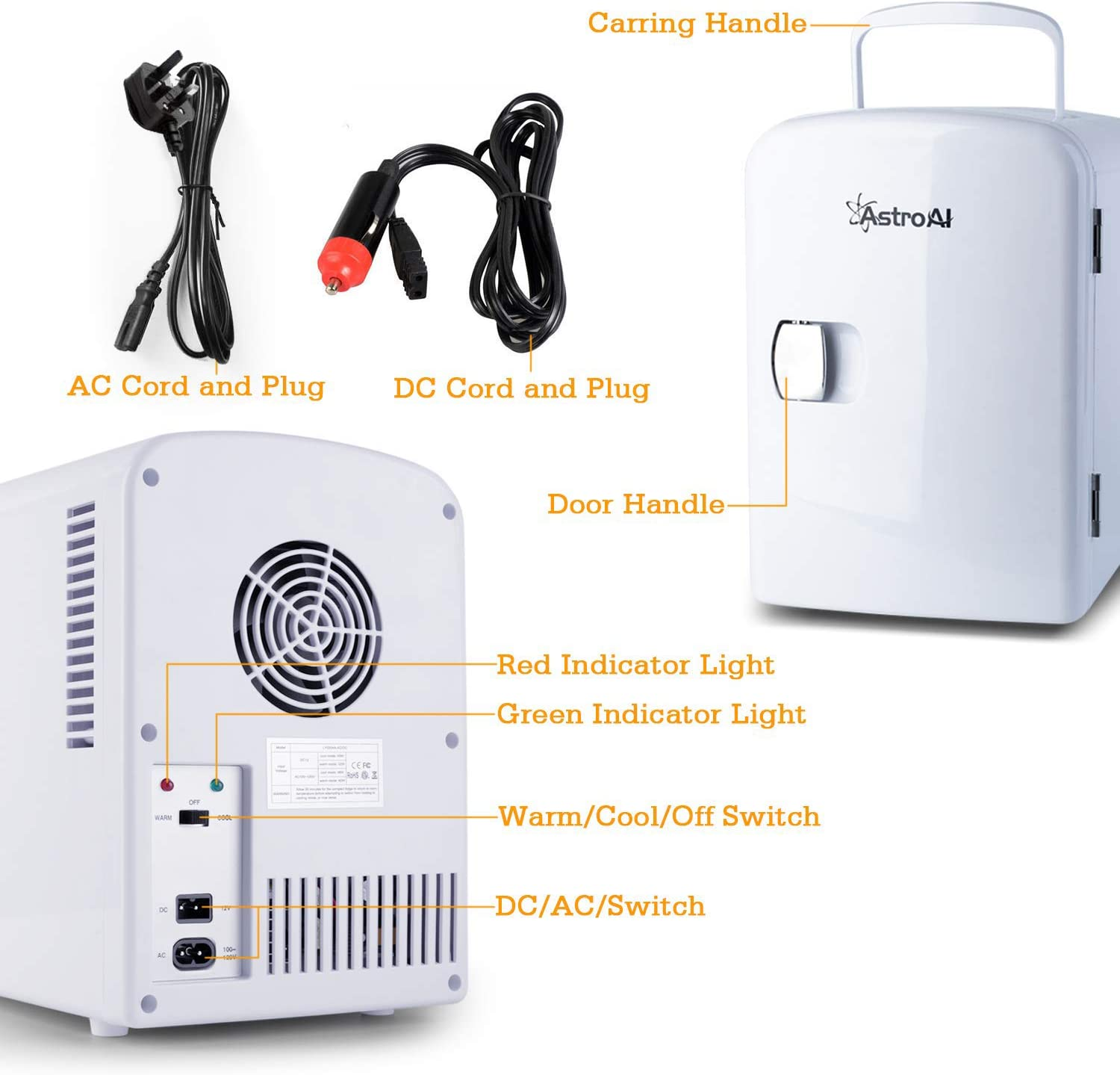 and Dorms Offices AstroAI Mini Fridge 4 Liter//6 Can Portable AC//DC Powered Thermoelectric System Cooler and Warmer for Cars Homes