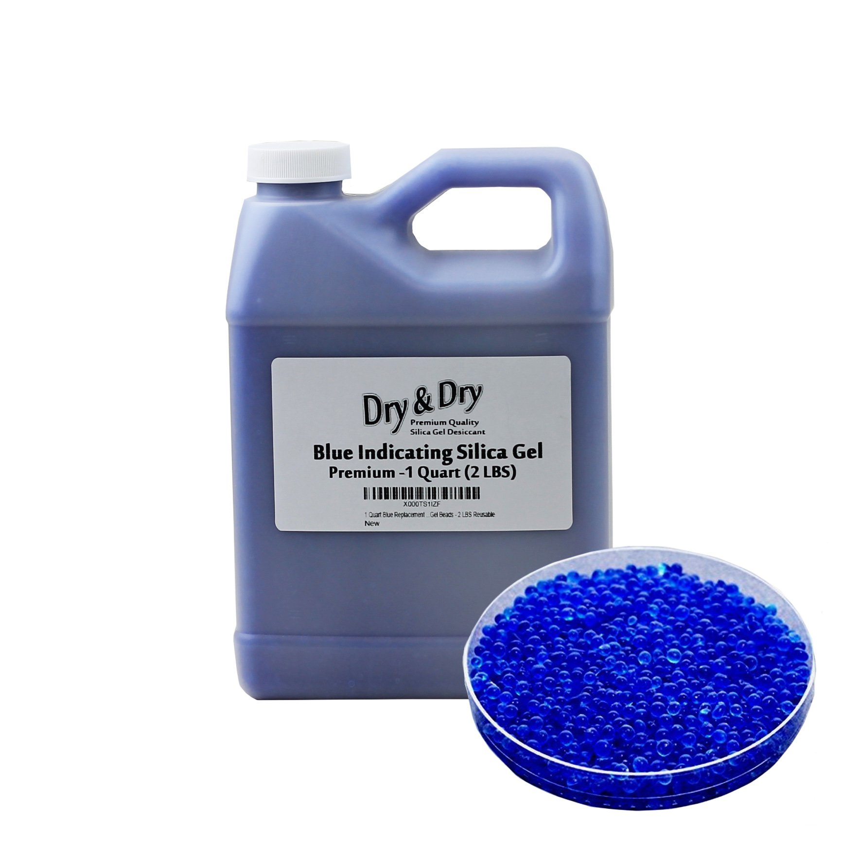 Dry & Dry [2 LBS] Blue Premium Indicating Silica Gel Beads(Industry Standard 2-4 mm) - Reusable Desiccant Beads