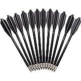 12 flechas de los dardos de metal para Abs Ballesta Negro Flecha de la blanco