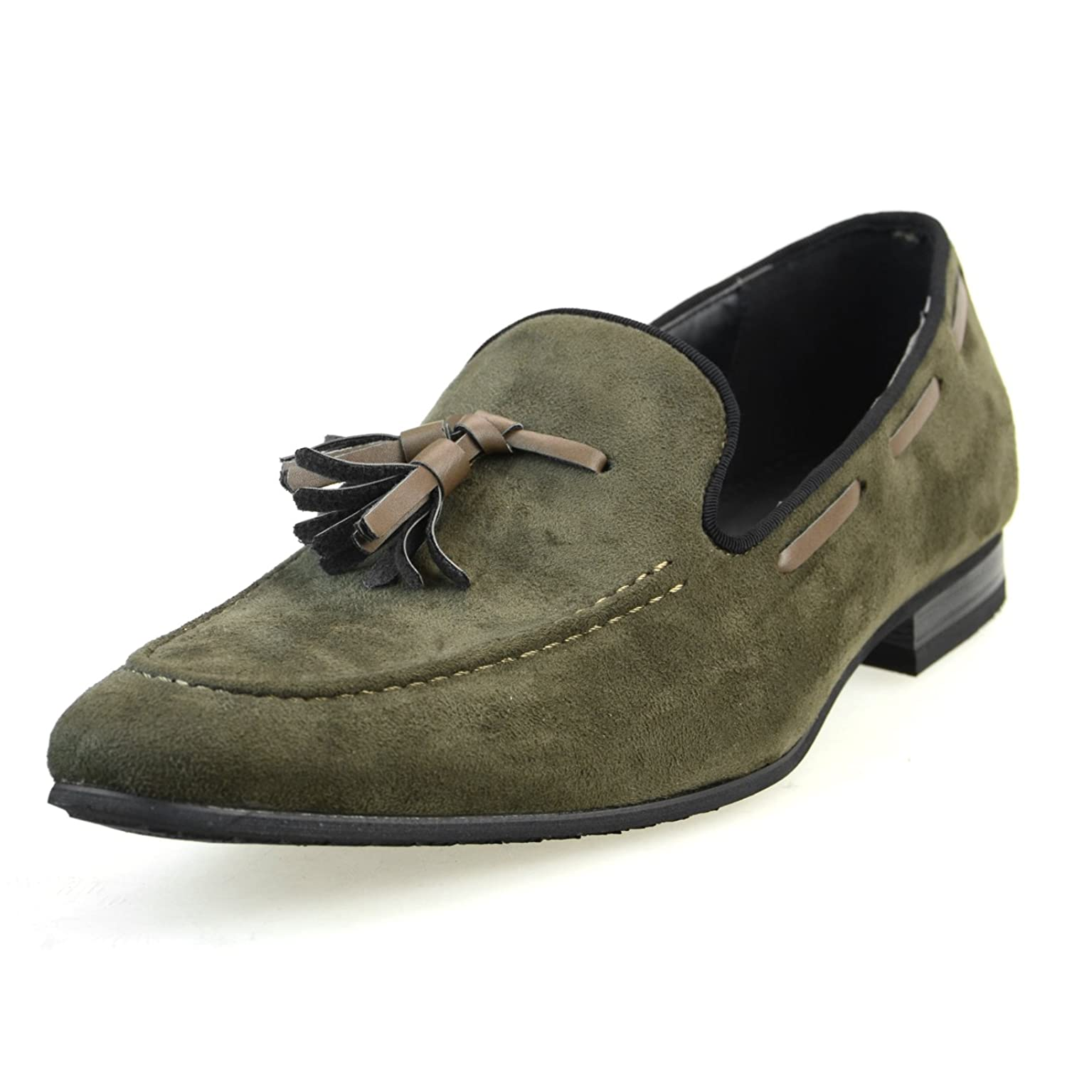 AN by LUCIUS Mens dress shoes Tassel loafers suede Casual Oxford Black Navy wine beige khaki