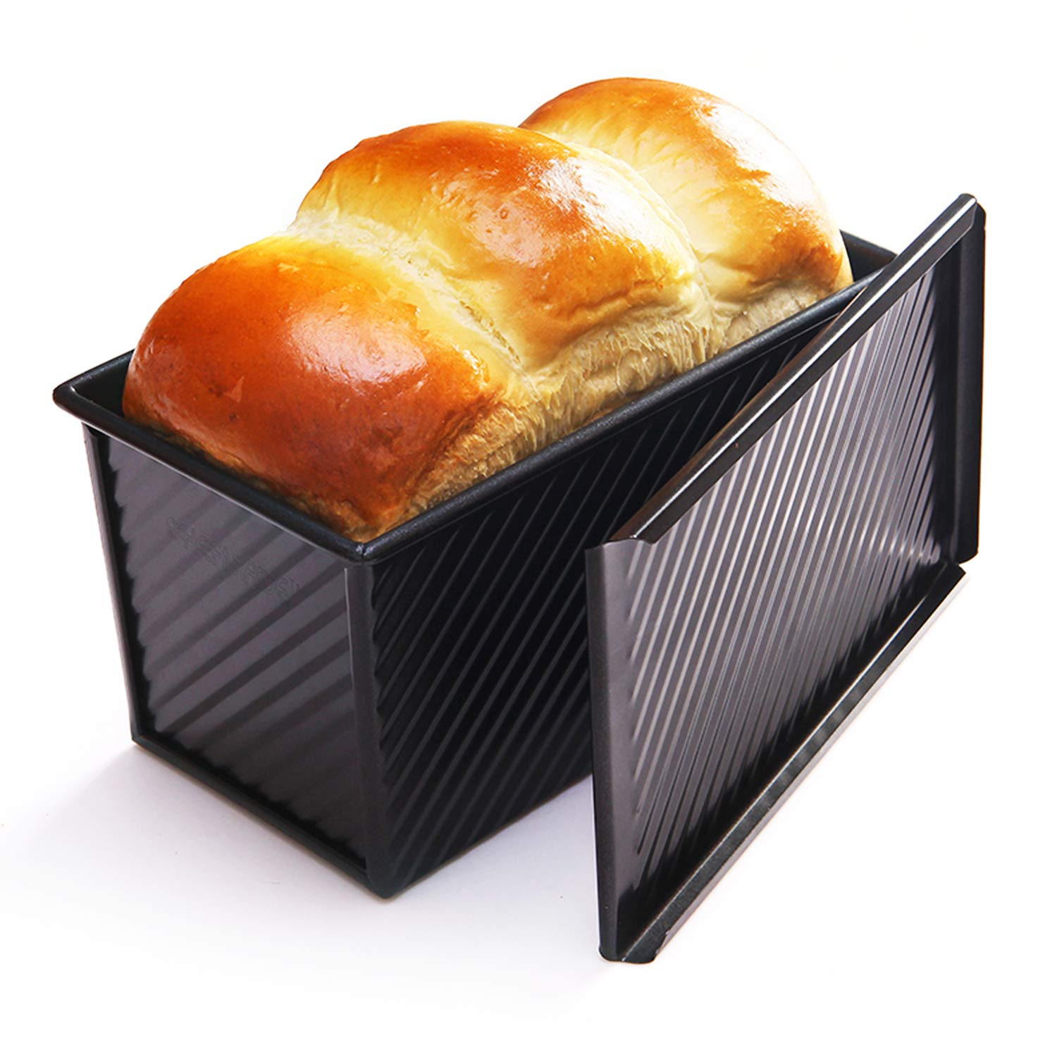 CHEFMADE Loaf Pan with Lid, Non-Stick Bakeware Carbon Steel Bread Toast Mold with Cover for Baking Bread FDA Approved - BLack by CHEFMADE