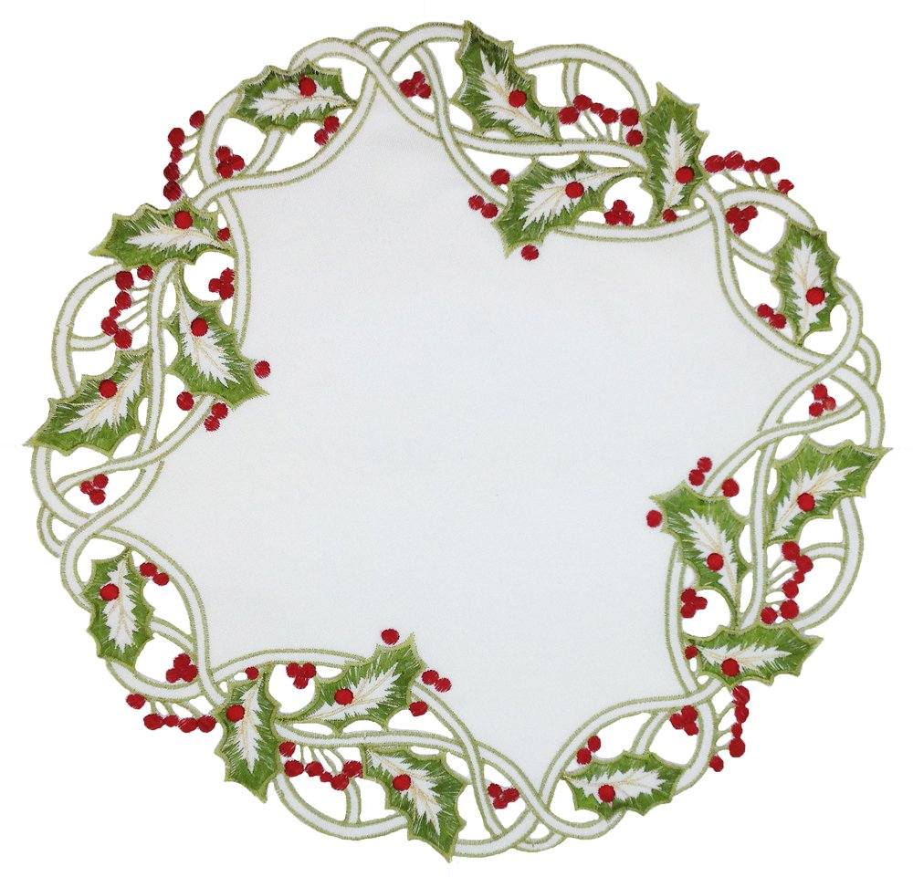 Xia Home Fashions Holiday Holly Embroidered Cutwork Christmas Doilies, 12-Inch Round, Green, Set of 4 XD14791