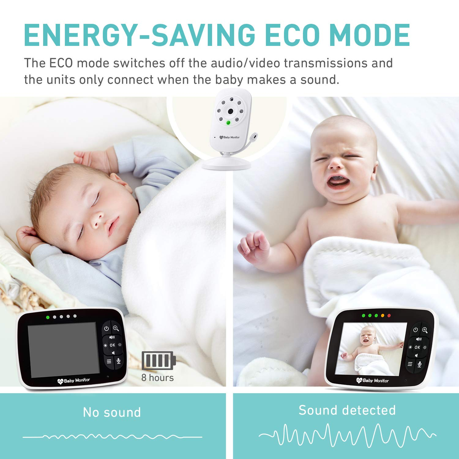 Baby Monitor, Video Baby Monitor with 3.5 inch LCD Screen Display Infant Night Vision Camera,Two Way Audio,Temperature Sensor,ECO Mode,Lullabies and Long Transmission Range by Babebay (Image #6)