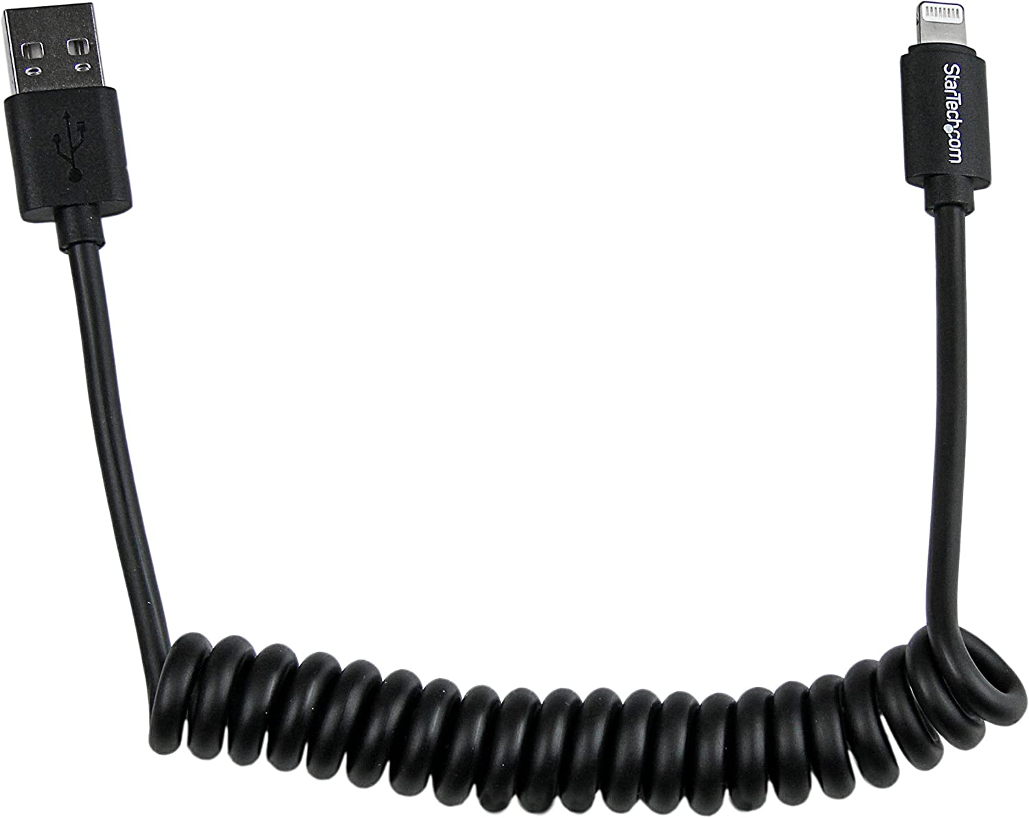 StarTech.com 0.6m 2ft Coiled Black Apple 8-pin Lightning to USB Cable for iPhone iPod iPad - Coiled Lightning Cable - Charge & Sync - 60cm (USBCLT60CMB)