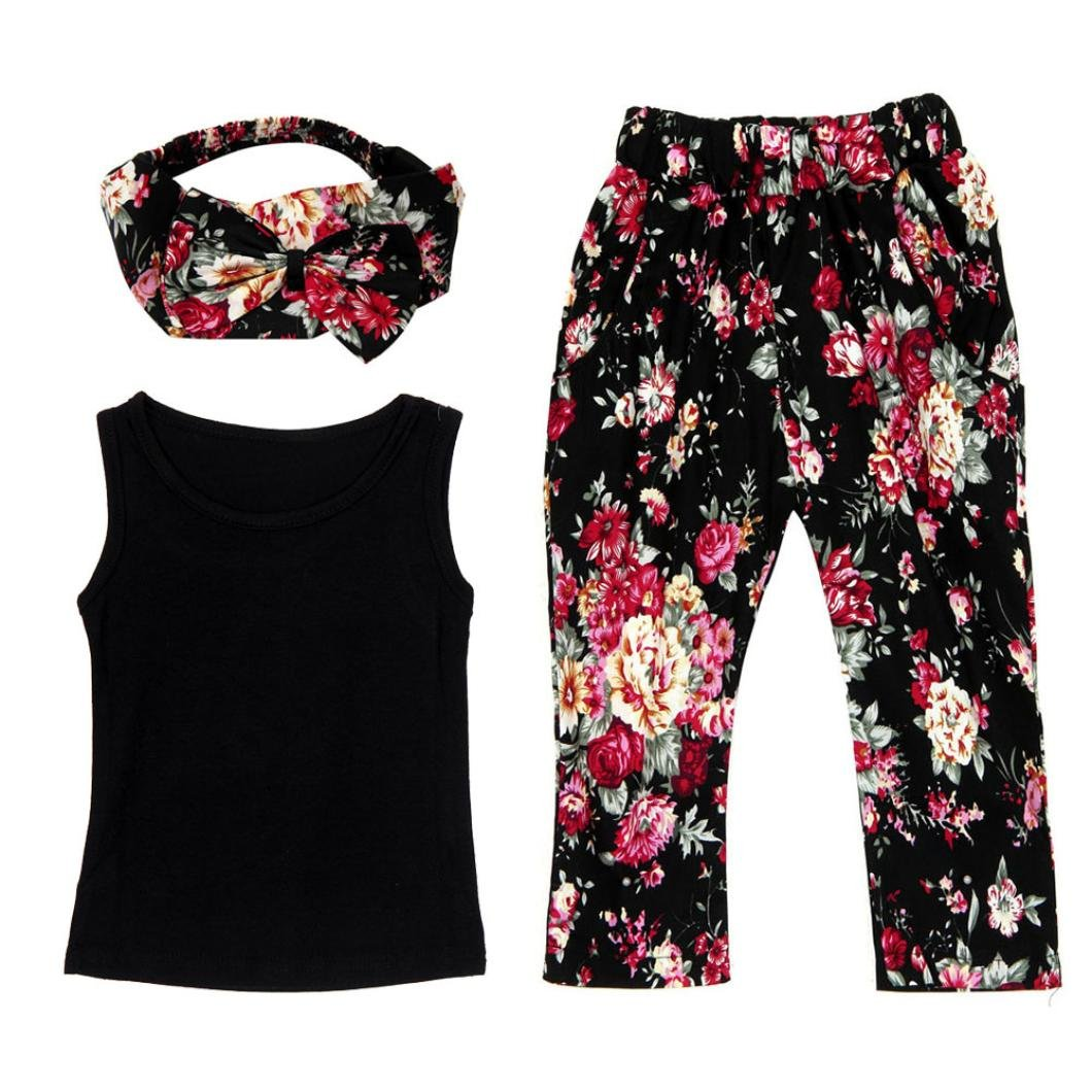 DaySeventh Trendy Summer Cute Girls Sleeveless Tops Vest + Floral Pants + Hair Band Clothes Set