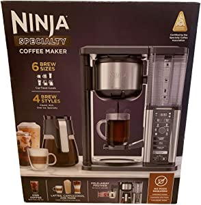 Ninja Specialty Coffee Maker CM400, Pod Free, 6 Brew Sizes, 4 Brew Styles, Fold-Away Milk Frother, Swivel Brew Basket, Removable Water Reservoir, Glass Carafe, Smart Scoop, Intelligent Warming Plate, Single-Cup Brewing w/ Fold Away Cup Platform
