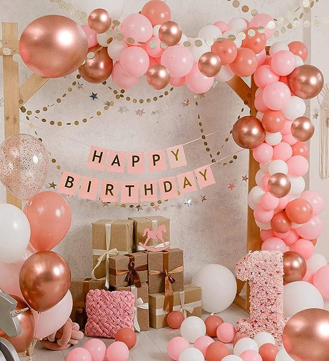 YiRAN 16Ft Long 79pcs Pink White Gold Pink White Gold Balloon Garland Kit Arch