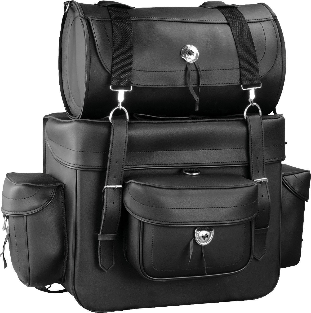 Raider Motorcycle Leather Touring Storage Luggage Bag with Removeable Roll Bag