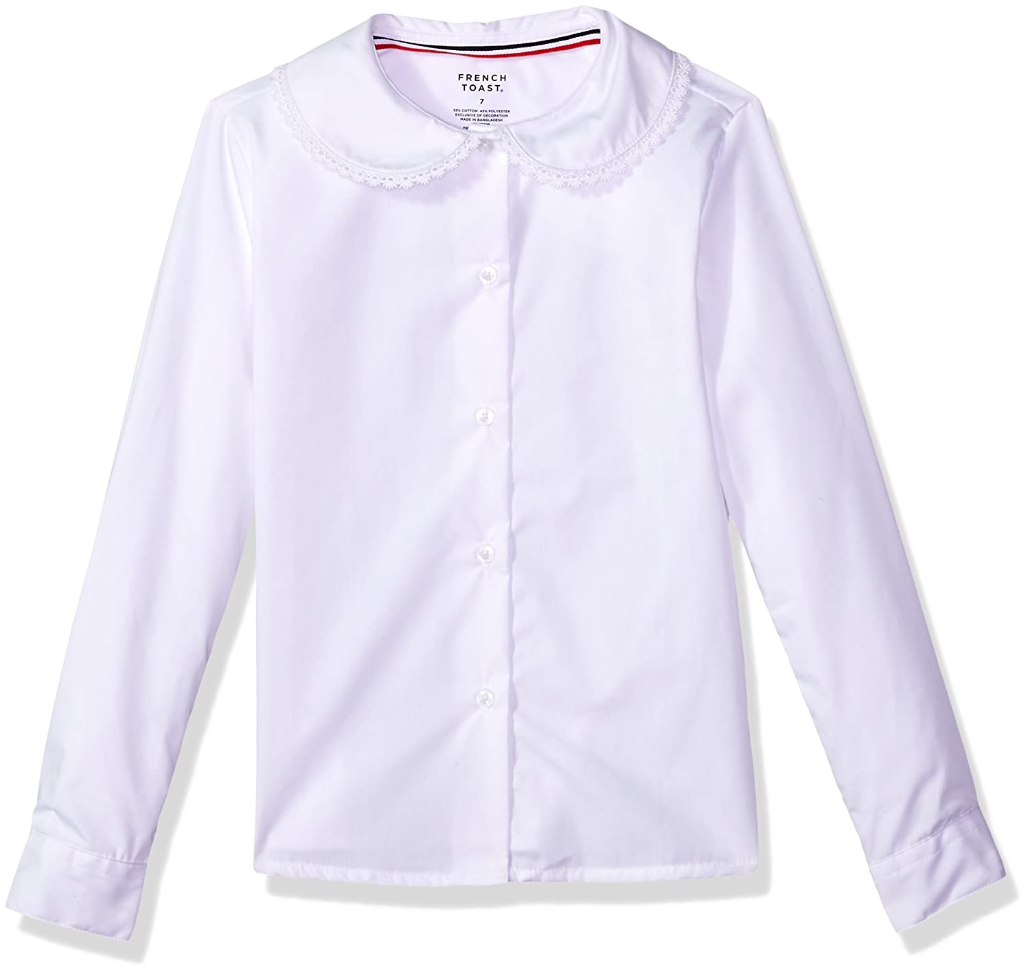 French Toast Girls Long Sleeve Peter Pan Blouse with Lace Trim Collar - E9323