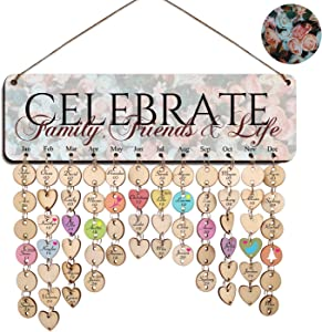 Zhuper Family Birthday Board Wall Hanging for Mom Grandma Women Family Birthday Calendar Reminder Celebrate Family Friends Life Plaque Sign Home Office Wall Decor DIY Birthday Present