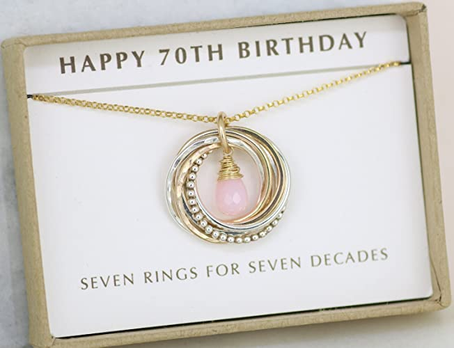 Amazon 70th Birthday Gift For Her Pink Opal Necklace For Mom