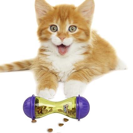 BIGWING Style-Almacenamiento para Gato Mascota Dispensador Juguete Interactivo Rodeado con Hueco Tener la Comida
