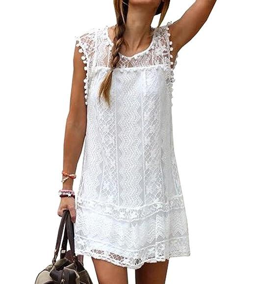 9c766f14161 Minetom Mujer Chicas Verano Vestido Sin Mangas Mini Vestir Cuello Redondo A-Line  Vestidos: Amazon.es: Ropa y accesorios