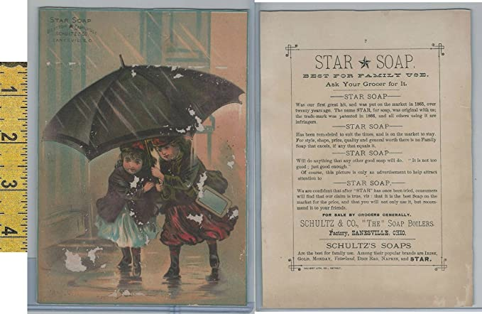 Victorian Card 1890s Star Soap Zanesville Ohio Girls Umbrella