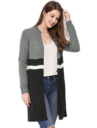 ee624de9aa Allegra K Women s Striped Open Front Contrast Color Sweater Long Cardigan  Grey XS (US 2