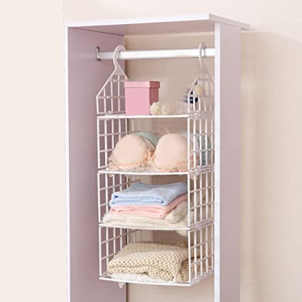 Terya Hanging Closet Organizer Plastic Hanging Accessory Shelf Organizer 3  Shelves (S)