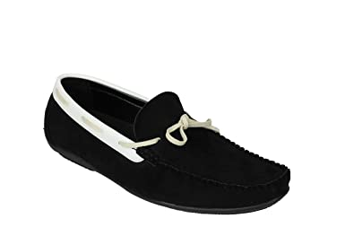 76ab0b5cd68 Men Black Brown Blue Faux Suede Leather Smart MOD Moccasin Slip On Driving  Shoes PVC