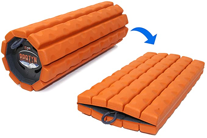 Brazyn Morph Bravo Foam Roller - Collapsible & Portable Muscle Roller for Travel Myofascial Release, Massage, Back Pain, and Increasing Physical Mobility - As Seen on Shark Tank (Sunset Orange) best foam roller