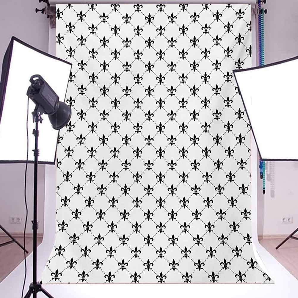 10x12 FT Photography Backdrop Checkered Dotted Pattern with Monochrome Abstract Lily Flower Ancient Revival Background for Baby Shower Birthday Wedding Bridal Shower Party Decoration Photo Studio