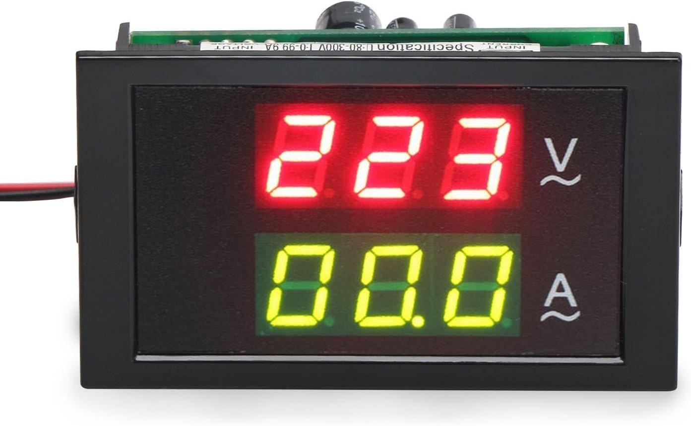 transformador Detecci/ón de corriente 220V//240V 80V-300V//100A Digital AC actual Volt/ímetro Amper/ímetro Gauge Sentido Transformador LED dual Displayr volt/ímetro Gauge