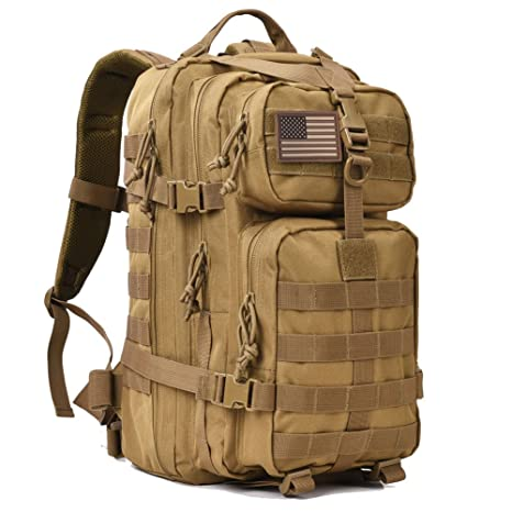 0634ee02e2 Amazon.com   REEBOW GEAR Military Tactical Backpack 3 Day Assault Pack Army  Molle Bug Out Bag Backpacks Rucksack 35L Khaki   Sports   Outdoors