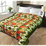 Christy's Collection Super Soft Printed Cotton Blend AC Double Blanket - Green