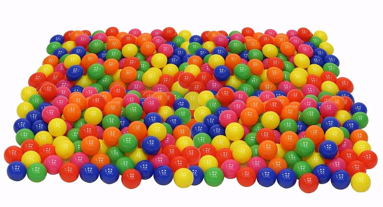 Paquete de 200 pelotas de plástico resistentes al aplastamiento, de ftalato, sin bisfenol A, para peloteros, 6 colores brillantes en una bolsa de malla para ...