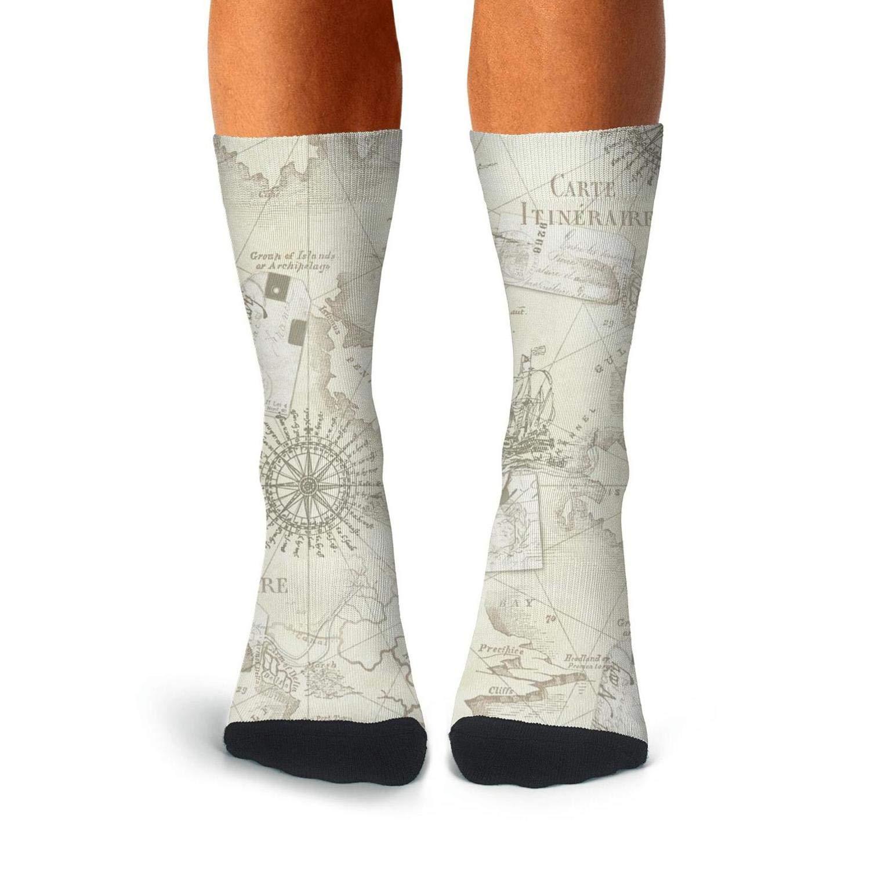 KCOSSH Nautical Map Funny Crew Sock Cool Calf Socks for Men