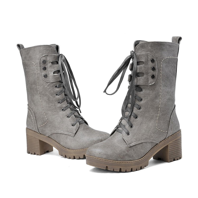 YE Damen Retro Bequeme Blockabsatz Kurzschaft Stiefel mit Schnürung und Nieten  6cm Absatz Boots: Amazon.de: Schuhe & Handtaschen