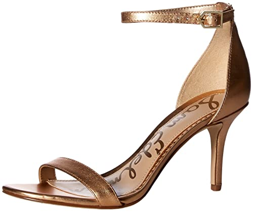 20e2a1f450a Image Unavailable. Image not available for. Color  Sam Edelman Women s Patti  Heeled Sandal Golden Copper Metallic Leather ...