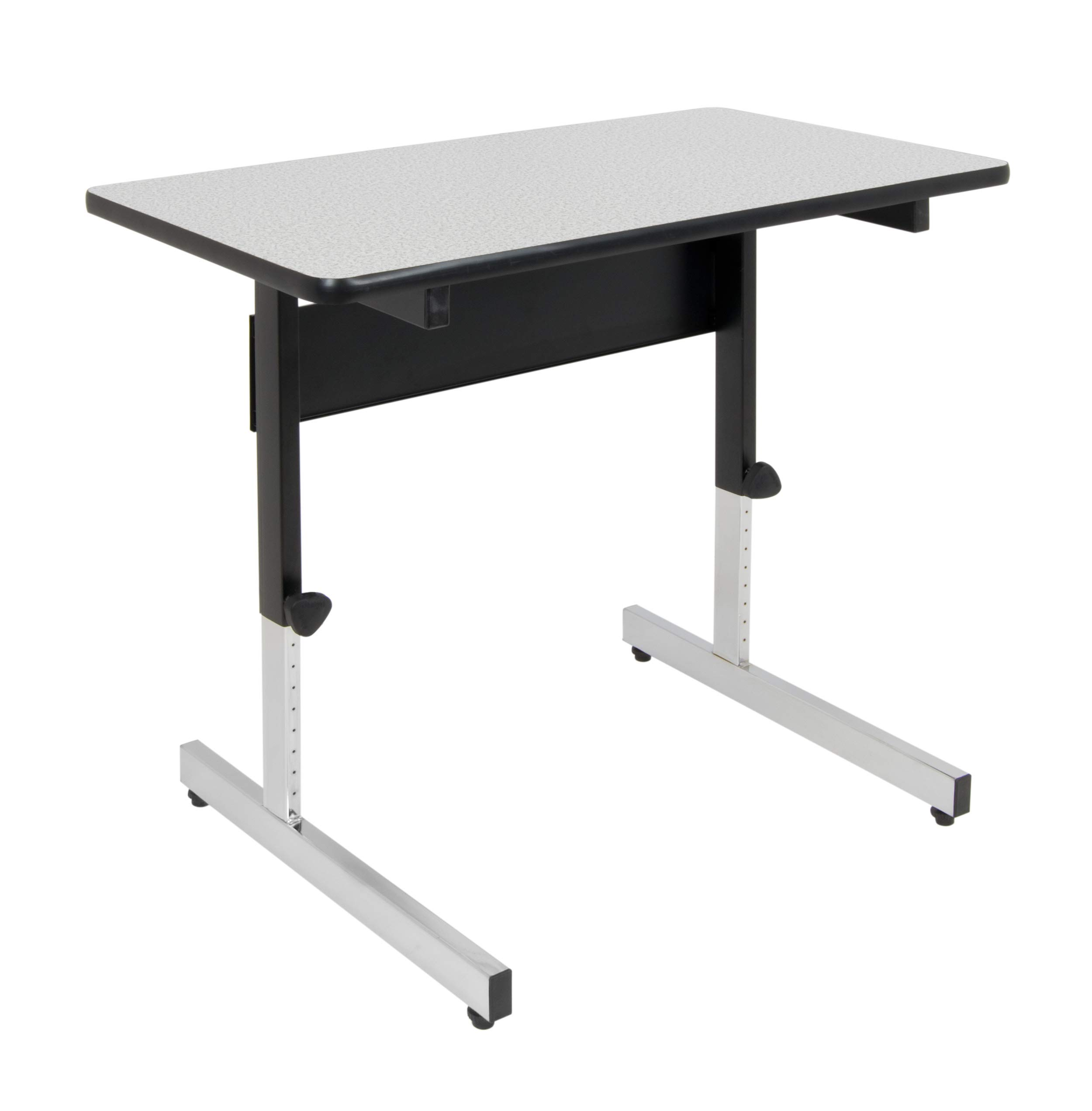 Calico Designs Adapta Height Adjustable Office Desk, All-Purpose Utility Table, Sit to Stand up Desk Home Computer Desk, 23'' - 32'' in Powder Coated Black Frame and 1'' Thick Grey Top, 36 Inch by Calico Designs