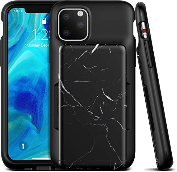 VRS Design Damda Glide Shield Compatible for iPhone 11 Pro Max Case, with Premium Semi Auto Wallet for iPhone 11 Pro Max (2019) Black Marble
