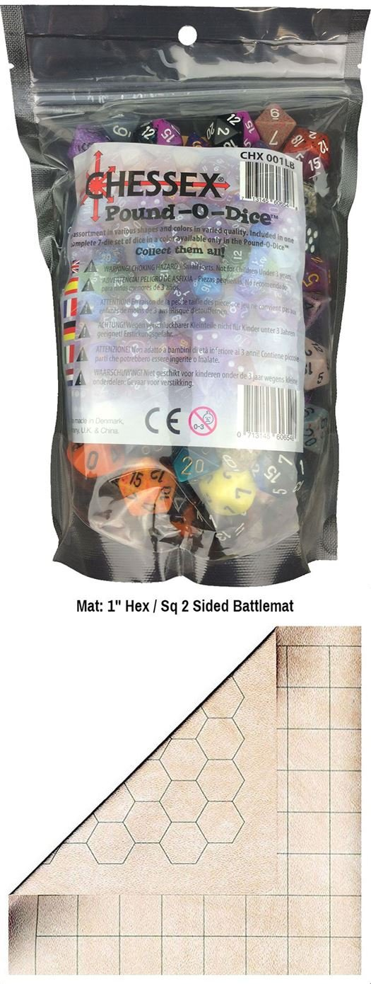 FunkoPOP Chessex Pound-O-Dice - Polyhedral Farbe Variant Assorted Table Top Accessory + Chessex Reversible Battlemat - Double-Sided 26