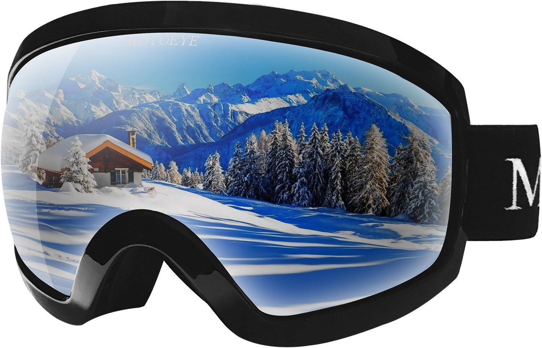 motoeye Ski Goggles – Over Glasses Design Snow Snowboard Goggle for Men,Women Youth 100 UV Protection Long-time Anti-Fog Mirrored