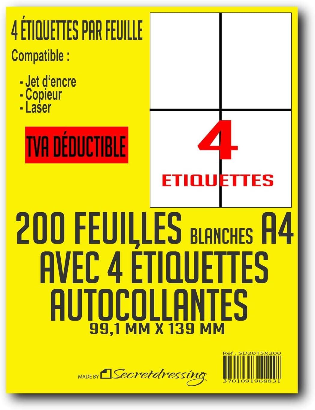 L7169 Fogli A4 di 4 etichette adesive in carta adesiva bianca IVA DEDUCTIBLE 50 feuilles codice a barre indirizzi mailing 99,1 x 139 mm