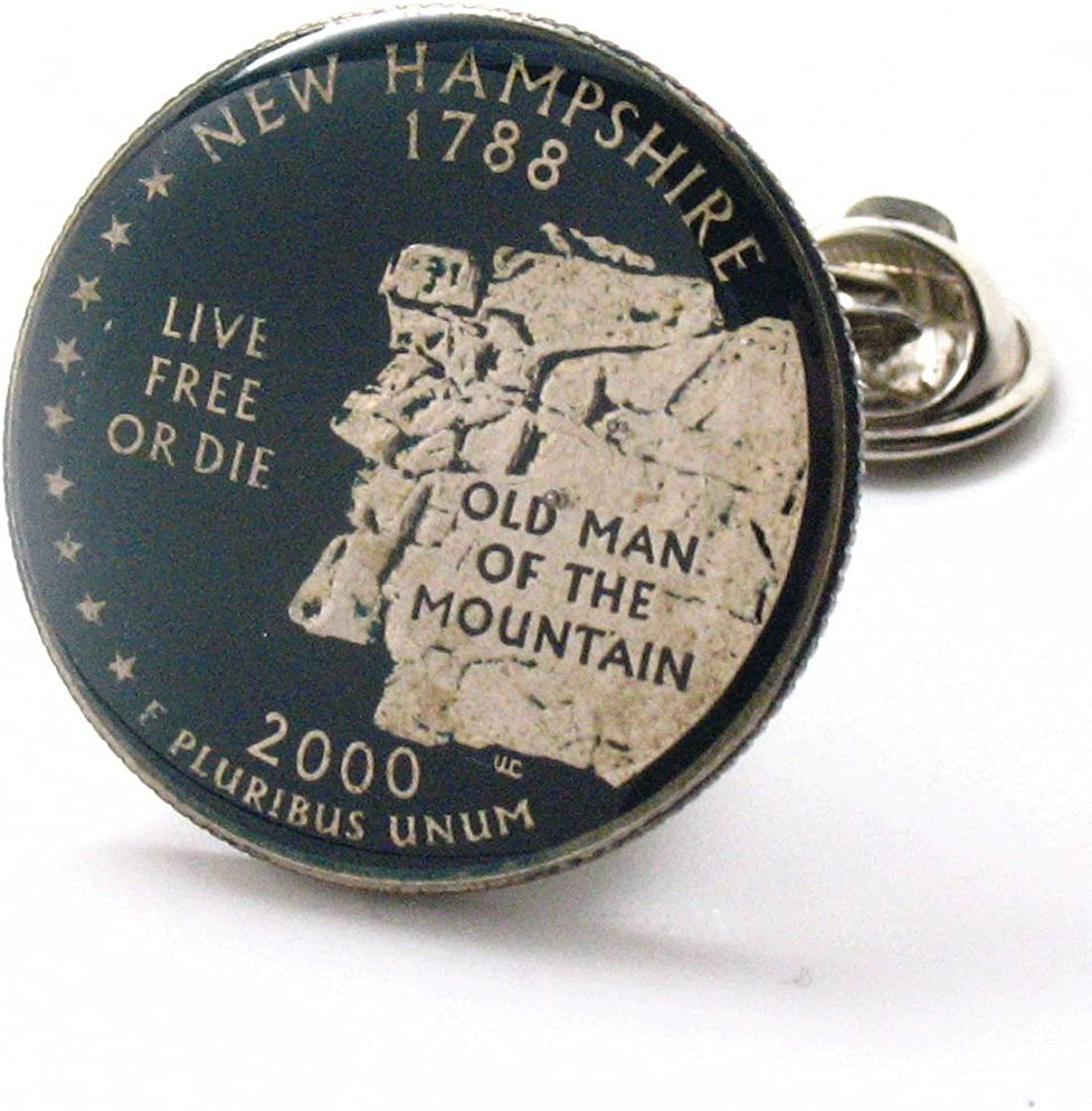 New Hampshire Tie Tack Lapel Pin Suit Flag State Coin Jewelry USA United States America East Cost Manchester