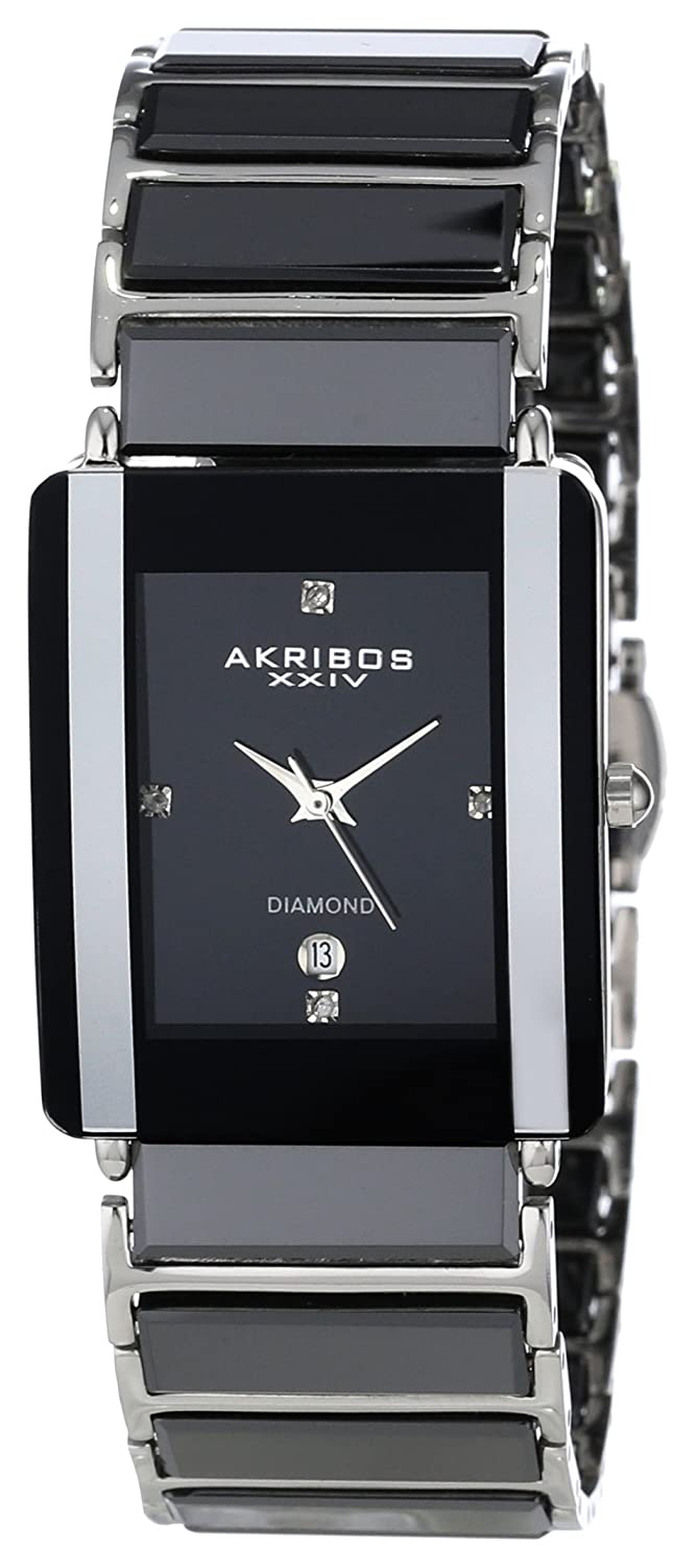 overstock bracelet akribos mens today black shipping men quartz xxiv watches rectangular jewelry free product ceramic watch s