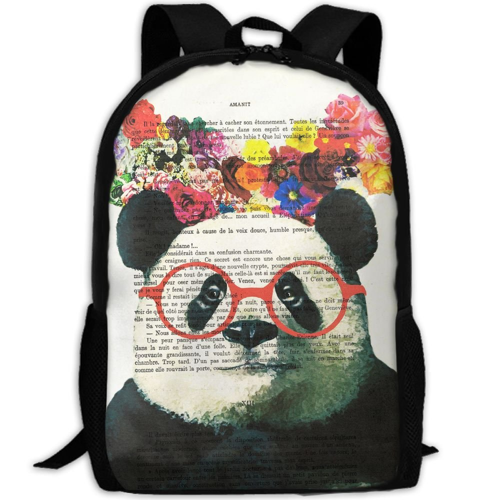 50%OFF SZYYMM Creating Newspaper Panda Oxford Cloth Fashion Backpack,Travel/Outdoor Sports/Camping/School, Adjustable Shoulder Strap Storage Backpack For Women And Men