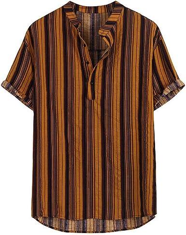 Camisa a Rayas para Hombre cómodo Suelto y Transpirable Shirt ...